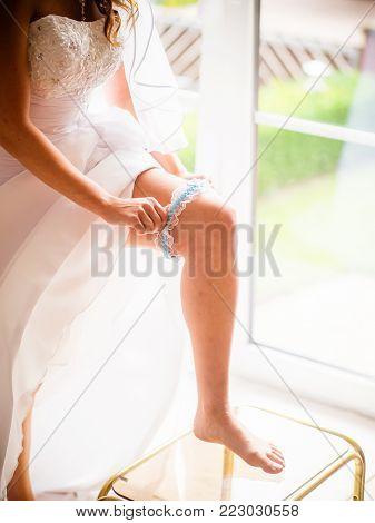 wedding bridal sexy white blue garter belt lingerie enjoy romantic wedding night pleasure dress with lace ribbon
