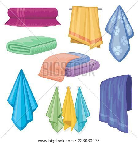 Cotton fabric vector towel. Bathroom and kitchen towels household and hygiene symbol. Towel fabric household, cotton soft towel for hygiene illustration