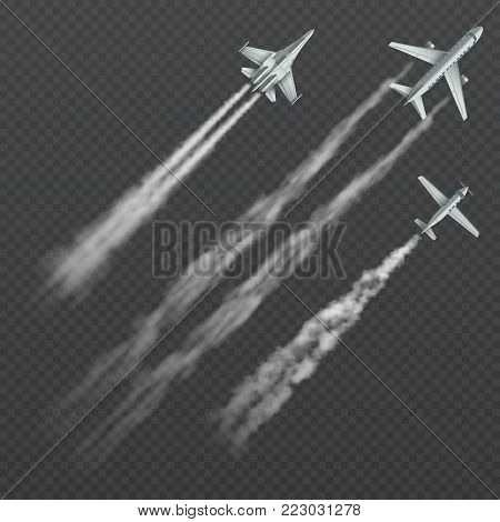 Airplanes and military fighters with condensation smoky trail isolated vector collection. Aviation aircraft flight, fighter in sky illustration