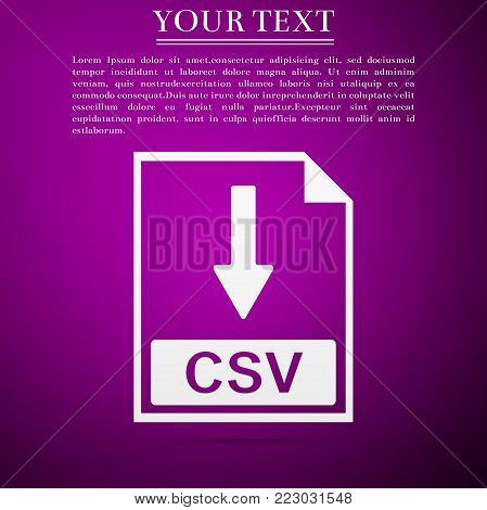 CSV file document icon. Download CSV button icon isolated on purple background. Flat design. Vector Illustration