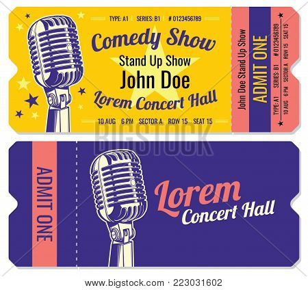 Stand up comedy show entrance vector tickets template. Comedian stand up tickets with microphone illustration