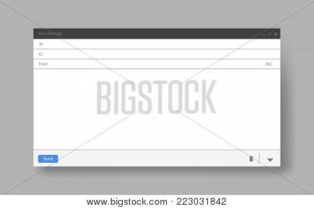 Blank window of E-mail, template vector illustration. E-mail blank template internet mail frame interface for mail message.