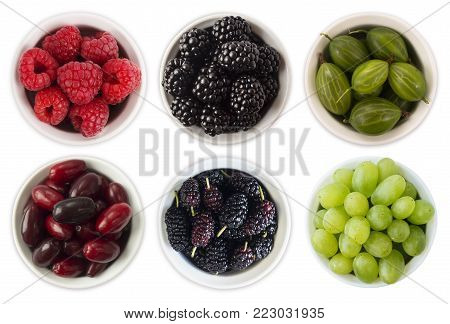 Red, black and green food. Fruits and berries in bowl isolated on white. Sweet and juicy berry with copy space for text. Rasberries, blackberries, mulberries, gooseberries and grapes. Collage of different fruits and berries. Berry on a white background. T