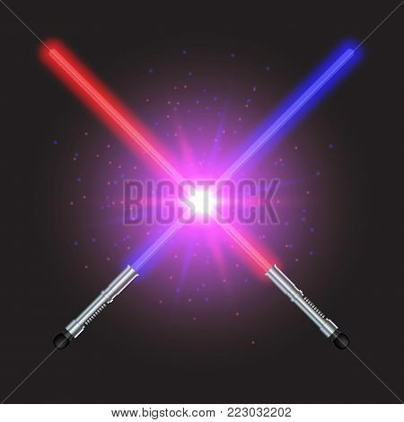 Two Crossed Light Swords Fight. Blue and Red Crossing Lasers. Glowing sabers in space. Design elements with flares and sparkles for your projects. Vector illustration.