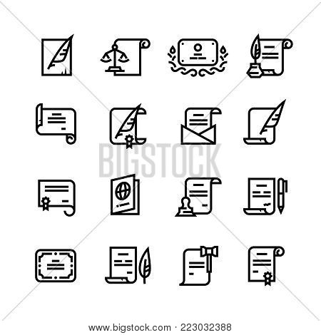Permission documents, certificate and passport, licence with cachet simple line icons. Certificate document paper and diploma with stamp illustration