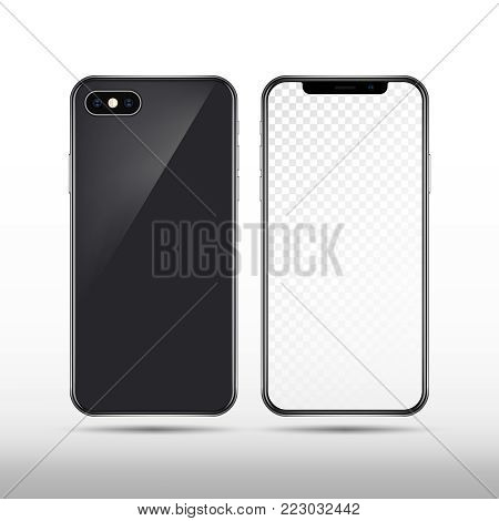 Realistic vector new smartphone isolated. Modern mobile phone template. Smartphone screen, illustration of mobile, gadget touchscreen