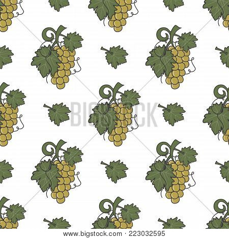 Grape vine and leaf icons seamless wallpaper. Wine cover pattern. Cute retro colors. Good for winery graphic design. Stock vector illustration isolated on white background.