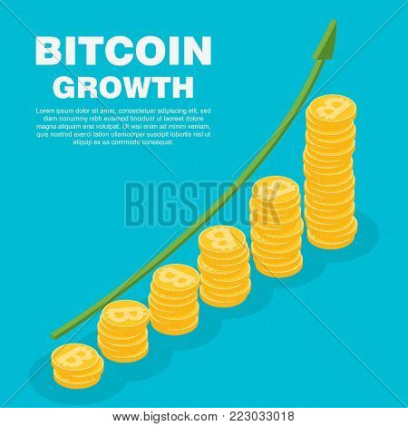 Bitcoin growth concept. Vector isometric illustration digital cryptocurrency. Stacks of gold coins like income graph with bitcoin. Cryptocurrency growth flat isometric vector concept.
