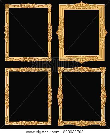 Vintage gold ornate square frames isolated. Retro shiny luxury golden vector borders. Luxury frame carving photo and picture illustration