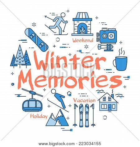 Vector linear blue round concept of Winter Memories. Line icons of winter outdoor recreation, skiing, ski lifts and mountain holidays