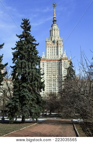 One of the seven famous Moscow skyscrapers built in the Socialist Classicism style (Stalinist Empire style). The main building of Moscow University, surrounded by shady park.