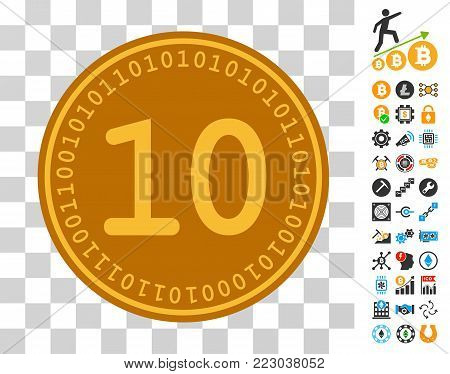 Ten Digital Coin pictograph with bonus bitcoin mining and blockchain graphic icons. Vector illustration style is flat iconic symbols. Designed for crypto-currency websites.