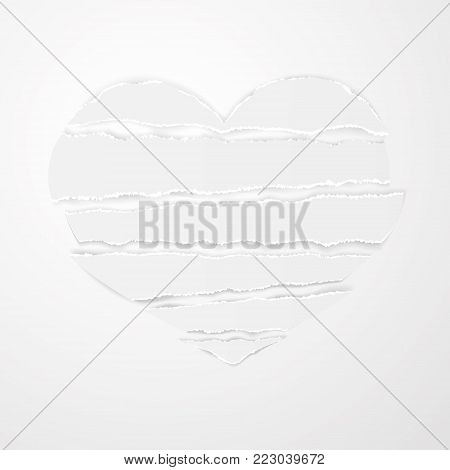 White torn paper stripes with ragged uneven ragged edges in shape broken heart vector on white background. Could be used for design poster, card, banner, advertising. Vector Stock clip art.