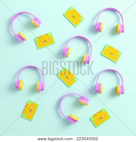 Headphones and retro cassette tapes on bright background in pastel colors. Top view. 3d rendering