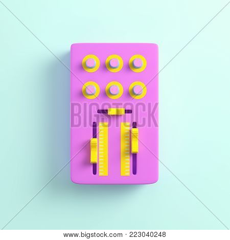 Pink dj mixer on bright background in pastel colors. Top view. 3d rendering