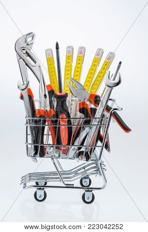 tool in a shopping cart