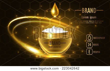 Cosmetics beauty series, premium Honey Cream packaging for skin care. Template for design poster, placard, presentation, banners, cover, vector illustration.