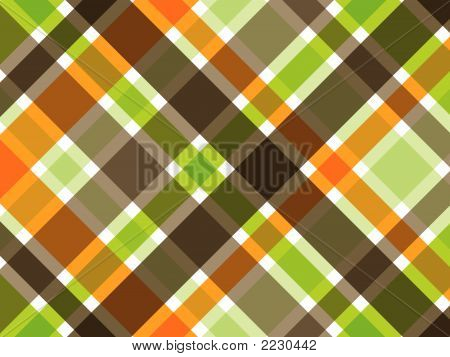 Retro Orange Green Brown Plaid Pattern (Vector)
