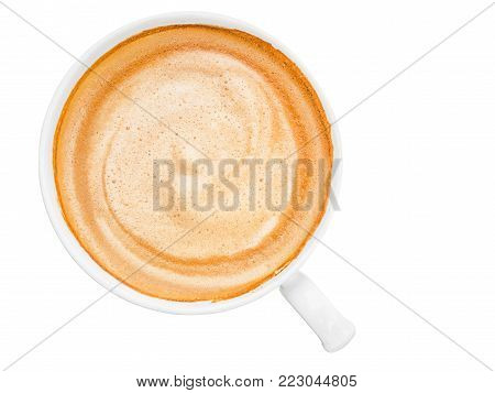 top view of hot coffee cappuccino isolated on white background with clipping path