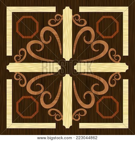 Wood art inlay decorative ornament, geometric patterns from dark and light exotic wood in antiquarian style, vector EPS10