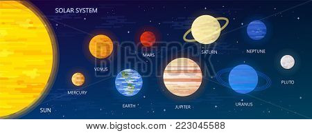 Solar system with sun orbits and planets on dark blue background flat vector illustration. Graphic Design for Education Classes, Planetarium, Flyers, Banners, Cards.