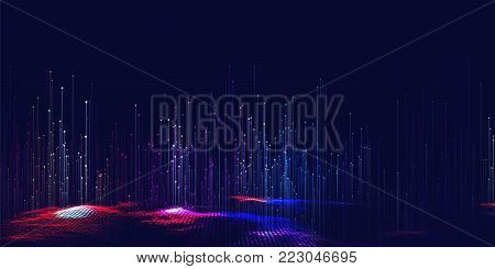 Vector abstract 3D big data visualization. Futuristic infographics aesthetic design. Visual information complexity. Intricate data threads plot. Social network or business analytics representation