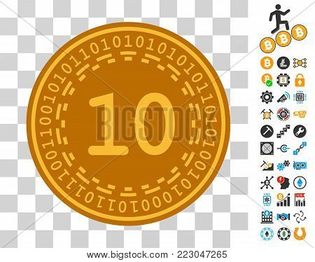 Ten Digital Coin icon with bonus bitcoin mining and blockchain pictographs. Vector illustration style is flat iconic symbols. Designed for blockchain apps.