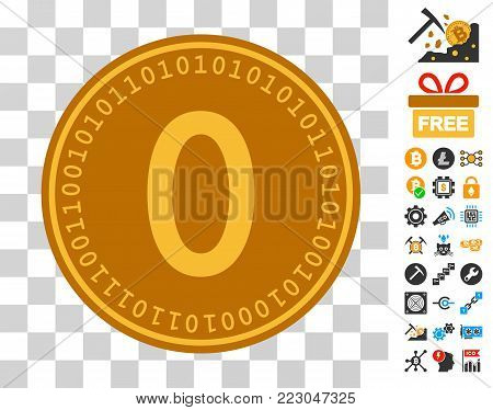 Zero Digital Coin icon with bonus bitcoin mining and blockchain pictographs. Vector illustration style is flat iconic symbols. Designed for bitcoin ui toolbars.
