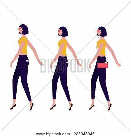 ladies walking in one direction isolated on background vector set