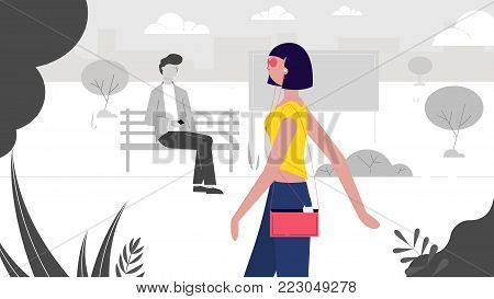 a modern girl walks through the park, a guy sitting on a bench looks at her creative vector illustration