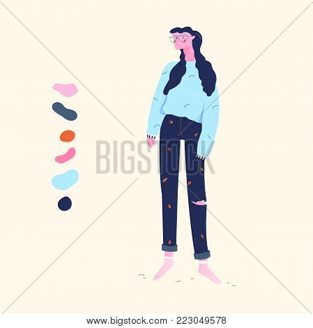 modern young girl standing isolated on background flat vector illustration
