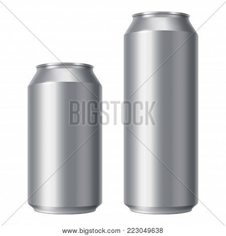 Blank beer can mock up. Small and Big Aluminium soda can isolated on white background. Realistic Drink packaging for branding and presentation of your design. Front view. Vector eps 10.
