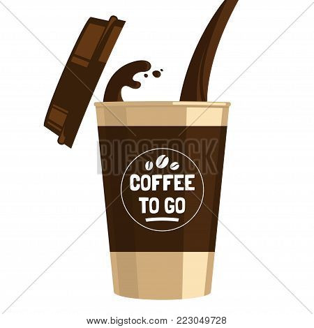 Coffee to go cup cartoon flat illustration. Pouring coffee into a cup isolated on white background. Hot invigorating drink. Decorative element for menu, advertising, flyer and poster design.