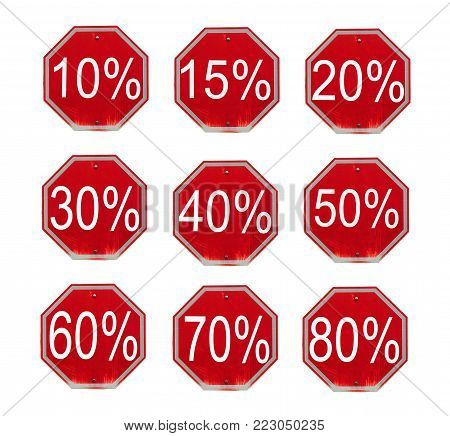 Discount numbers set. 10 off and 50 off percent  discount store signs