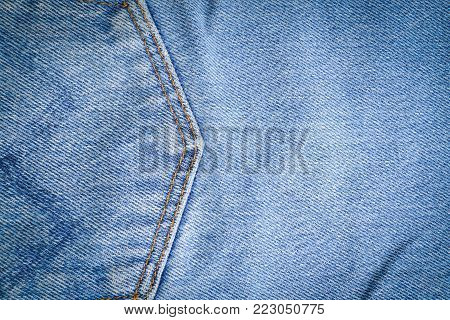 Closeup of denim jean texture background with space use for texts display