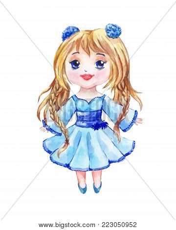Anime is a little girl in a blue dress with two lovely tails. Chibi drawing watercolor on a white background.