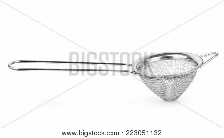 Silver sieve isolated on white Cookery, Cook, Prepare, House,