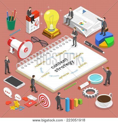 Content strategy flat isometric vector concept. Businessmen, surrounded with some corresponding attributes, are discussing a project content strategy.