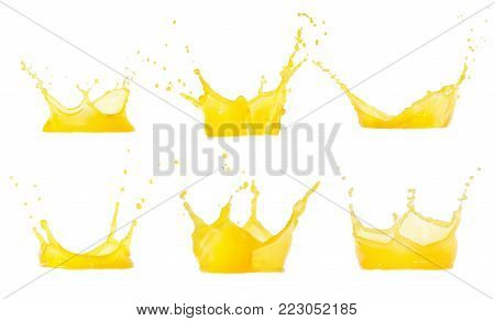 juice splashes set isolated on white. Clipping path. Splashing orange juice collection