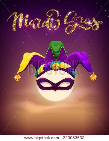 Invitation to Mardi Gras Party. Full moon, mask and clown cap symbols holiday mardi gras fatty Tuesday. Vector cartoon illustration