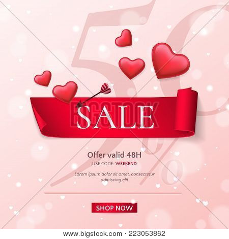 Elegant template of sale banner for Valentine's Day with a scroll realistic ribbon, an arrow and red shiny glossy hearts. Vector pink background for design of promotion flyers with discount offers.