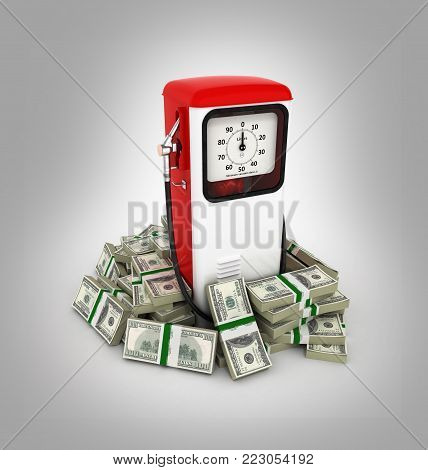 Retro fuel pump surrounded by 100 dollar bankrolls Concept of gasoline prices Retro fuel pump in pile of money american dollar bills isolated on grey gradient background 3d