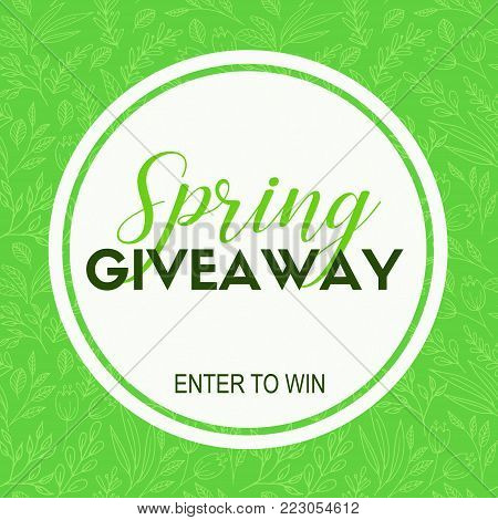 Spring giveaway card. Vector template for social media, blogs