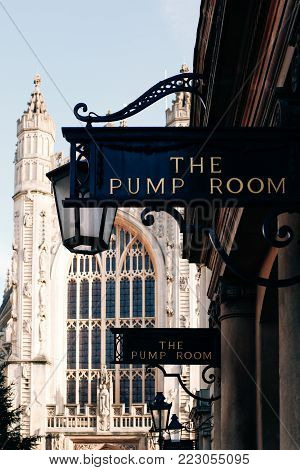 Bath, Uk - December 27, 2016: View Of The Sign At The Entrance To The Pump Room, A Well-preserved Ro