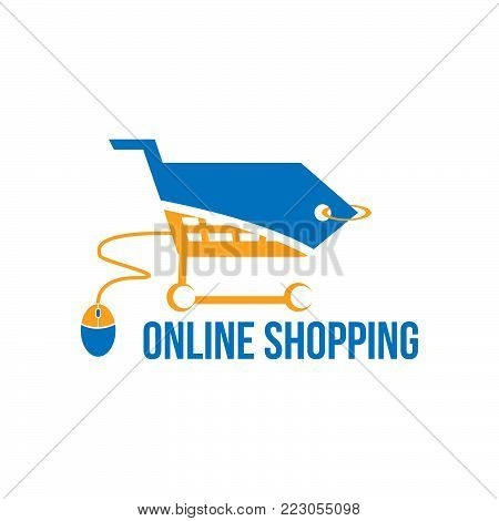 Shopping trolley icon isolated on white background. Online shopping concept. Half price tag and trolley combained with computer mouse . E-commerce buying vector illustration logo in flat style
