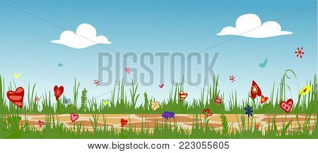 Floral arrangement from hearts. Cobbled path through blooming flower field. Sunny summer composition. Vector illustration symbolizing joy, love and happiness. Horizontal.