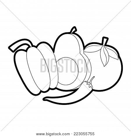 Avocado pepper and tomato of vegetable healthy and organic food theme Isolated design Vector illustration
