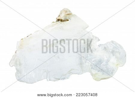 macro shooting of natural mineral rock specimen - raw layer of Brucite stone (Magnesium oxide ore) isolated on white background from Sverdlovsk Region, Urals, Russia