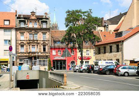 NUREMBERG, GERMANY - JULY 12, 2010: Grasergasse street in Nurnberg city in summer day. Nuremberg is city in Bavaria state, it is Germany's fourteenth-largest city