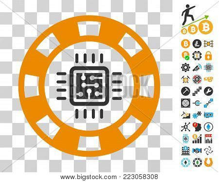 Cpu Casino Chip icon with bonus bitcoin mining and blockchain pictures. Vector illustration style is flat iconic symbols. Designed for crypto-currency software.